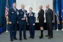 Master Sgt. Saul Soto-Sanchez (second from left) is presented with the Air National Guard Readiness Center Senior NCO of the Year award during the ANGRC annual awards ceremony held March 22, 2018, at the ANGRC on Joint Base Andrews, Md. (U.S. Air National Guard photo/Tech. Sgt. John E. Hillier)