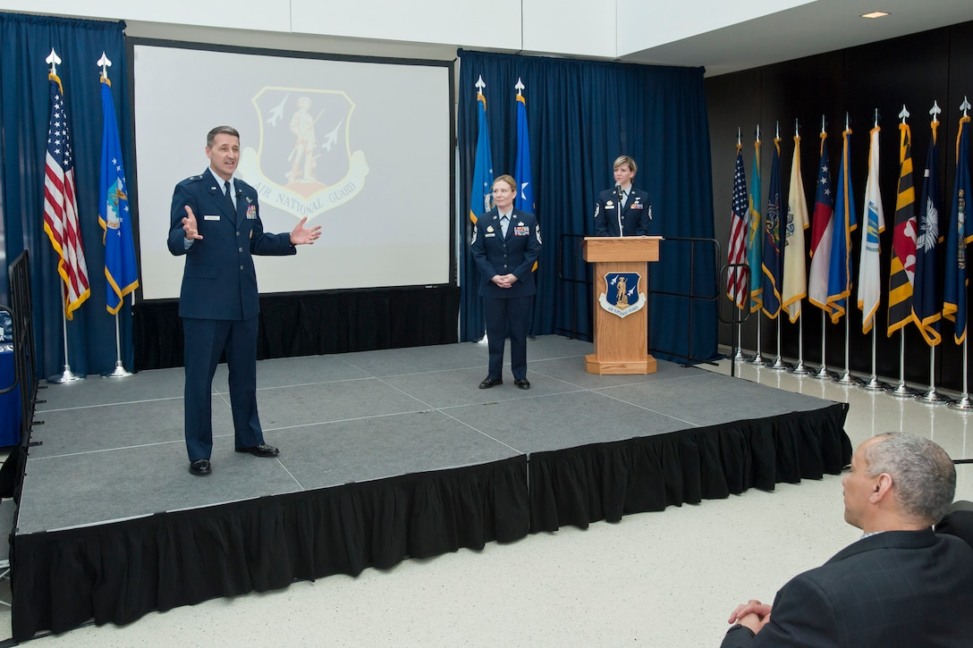 Brig. Gen. Steven S. Nordhaus, Air National Guard Readiness Center commander, congratulates annual award winners and thanks ANGRC members for their hard work over the previous year at the ANGRC annual awards ceremony held March 22, 2018 on Joint Base Andrews, Md. (U.S. Air National Guard photo/Tech. Sgt. John E. Hillier)