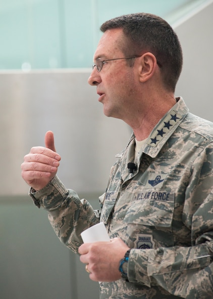 U.S. Air Force General Joseph L. Lengyel, Chief of the National Guard Bureau and member of the Joints Chiefs of Staff, addresses Air National Guard Airmen and civilians March 26, 2018 at Joint Base Andrews, Maryland. Lengyel discussed the National Defense Strategy and how ANGRC members work to implement it.(Air National Guard photo by Master Sgt. Marvin R. Preston/Released)