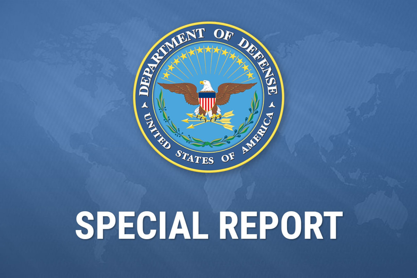Department of Defense seal on a blue background.