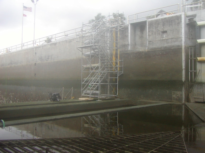 The temporary walkway staging allows workers to access the Ortona Lock chamber for inspections, maintenance and repairs.