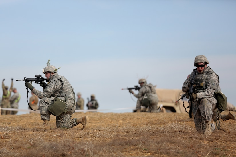 U.S. Army Reserve Soldiers, assigned to the 310th Expeditionary Sustainment Command, conduct skill level one tasks, ahead of their lanes training validation, during Combat Support Training Exercise 78-18-03, at Fort Knox, Kentucky, Mar. 19, 2018.