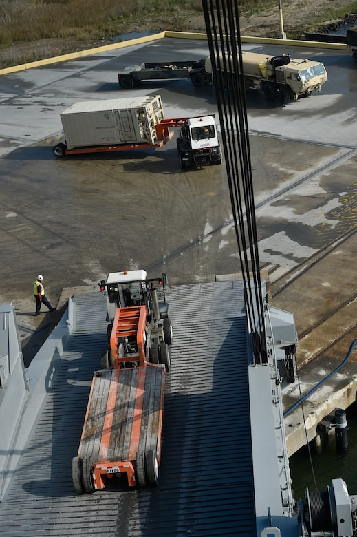 Vehicles assigned to the 82nd Airborne Division are loaded onto the USNS Watson (T-AKR-310) in preparation for transport at Joint Base Charleston's - Weapons Station, S.C., March 20.¬ The 841st Transportation Battalion, 597th Transportation Brigade, on-loaded more than 1,500 vehicles and equipment, including combat helicopters. Charleston has the capability to transport cargo by air, land, rail and sea.