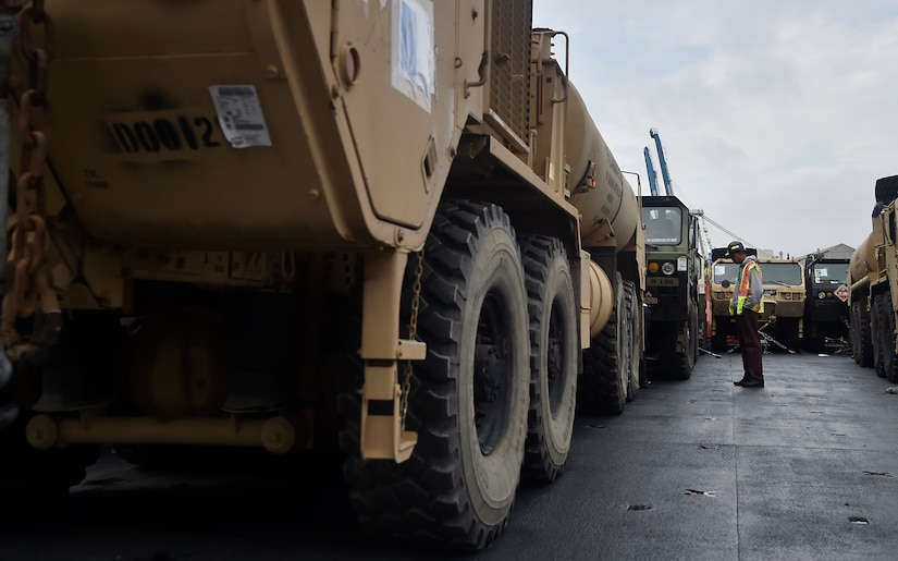 Vehicles assigned to the 82nd Airborne Division are loaded onto the USNS Watson (T-AKR-310) in preparation for transport at Joint Base Charleston's Naval Weapons Station March 20, in South Carolina. The 841st Transportation Battalion, 597th Transportation Brigade, on-loaded more than 1,500 vehicles and equipment, including combat helicopters, in support of the movement. Joint Base Charleston has the capability to transport cargo by air, land, rail and sea.