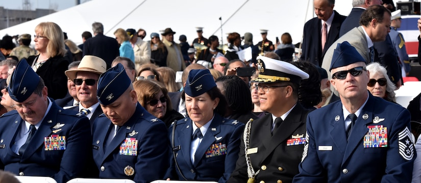 Joint Base Charleston's leadership attends the commissioning ceremony for the USS Ralph Johnson (DDG-114) March 24, 2018, at the Port of Charleston, S.C.
