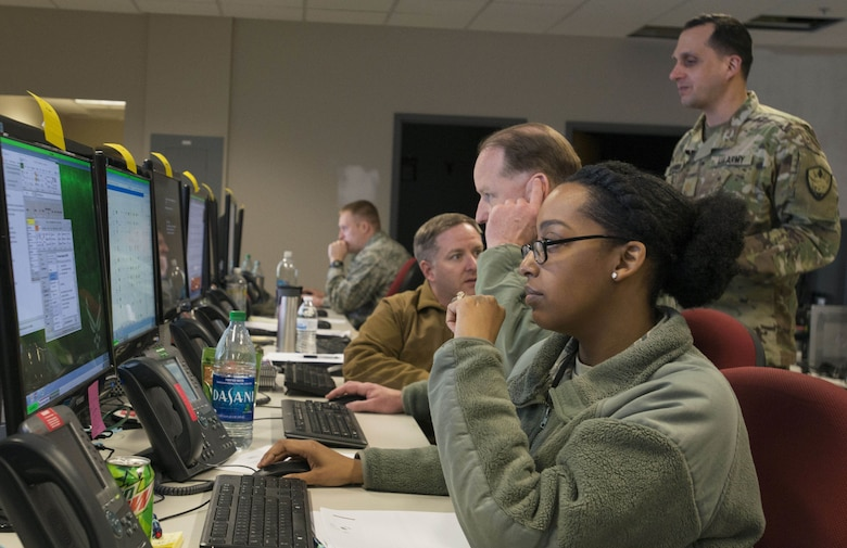 U.S. Air Force Staff Sgt. Deana Telfair, 9th Air Force personnel specialist, updates joint task force (JTF) organizational details during JTF-9 Staff Exercise 18-3 at Shaw Air Force Base, S.C., March 15, 2018.