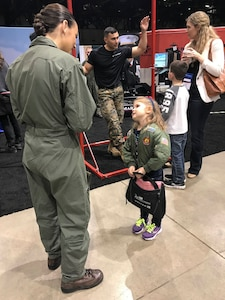 Marines with the 12th Marine Corps District supported the Women in Aviation International Symposium in Reno, Nev., March 22 – 24, 2018, by educating the public on air capabilities and opportunities within the Marine Corps. The event brought together aviators from around the world and celebrated the 100th anniversary of women serving in the Marine Corps. (Courtesy photo by Capt. Maureen Krebs.)