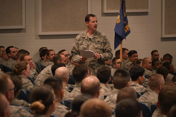 Airmen gathered in the afternoon at the base auditorium for Col. Todd Moore, 21st Space Wing commander's all call at Peterson Air Force Base, Colo., March 22, 2018.