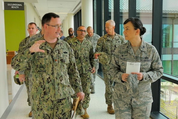 U.S. Navy Lt. Cmdr. James Shambley, Naval Construction Battalion Center facilities engineering and requisition division director, Gulfport, Mississippi, provides a tour of the base's nearly-completed Naval Branch Health Clinic to U.S. Air Force Col. Debra Lovette, 81st Training Wing commander, March 27, 2018, on NCBC Gulfport, Mississippi. Lovette toured NCBC Gulfport facilities to learn more about the joint-service construction training performed at the neighboring Gulf Coast base. (U.S. Navy photo by Ryan Labadens)