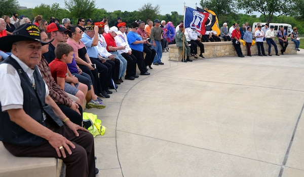 Vietnam veterans listen to guest speakers during the ceremony for the 50th Anniversary of the Commemoration of the Vietnam War at the Fort Sam Houston National Cemetery March 27.