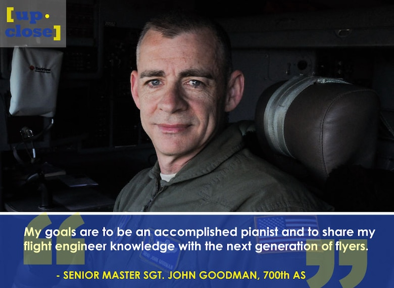 This week's Up Close features Senior Master Sgt. John Goodman, a 700th Airlift Squadron flight engineer. Up Close is a series spotlighting individuals around Dobbins Air Reserve Base. (U.S. Air Force graphic/Staff Sgt. Andrew Park; U.S. Air Force photo/Senior Airman Justin Clayvon)