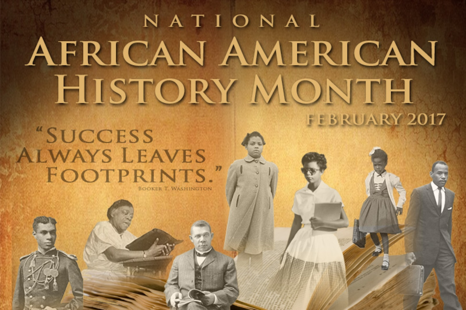 A collage of African American figures on a textured yellow background.