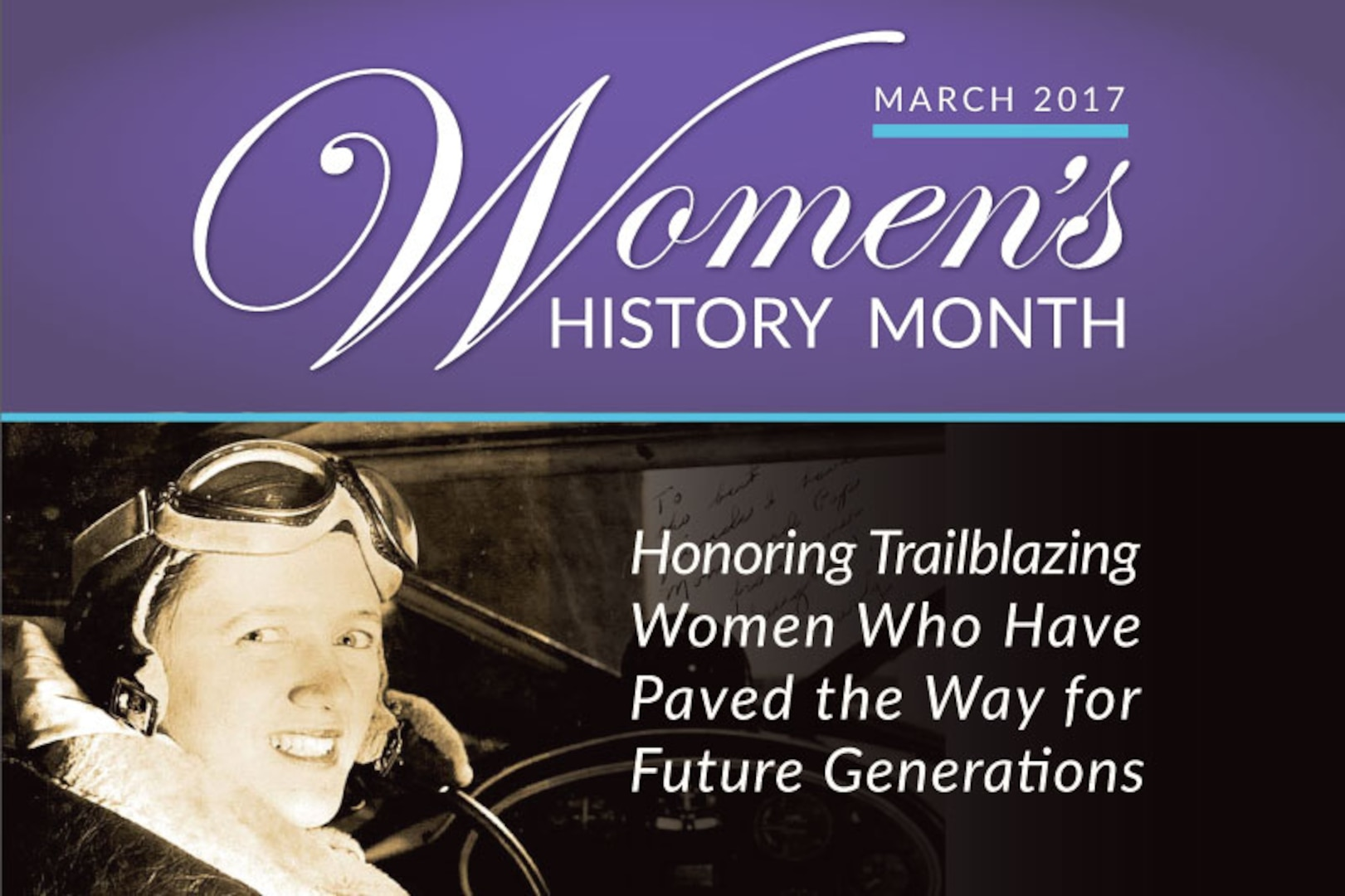A title graphic including an image of a woman pilot.