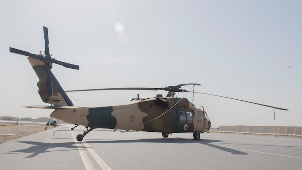 An Afghan Air Force UH-60 February 18, 2018, at Kandahar Air Wing, Afghanistan. The primary mission of the UH-60 will be troop and cargo transport. (U.S. Air Force photo by Staff Sgt. Jared J. Duhon)