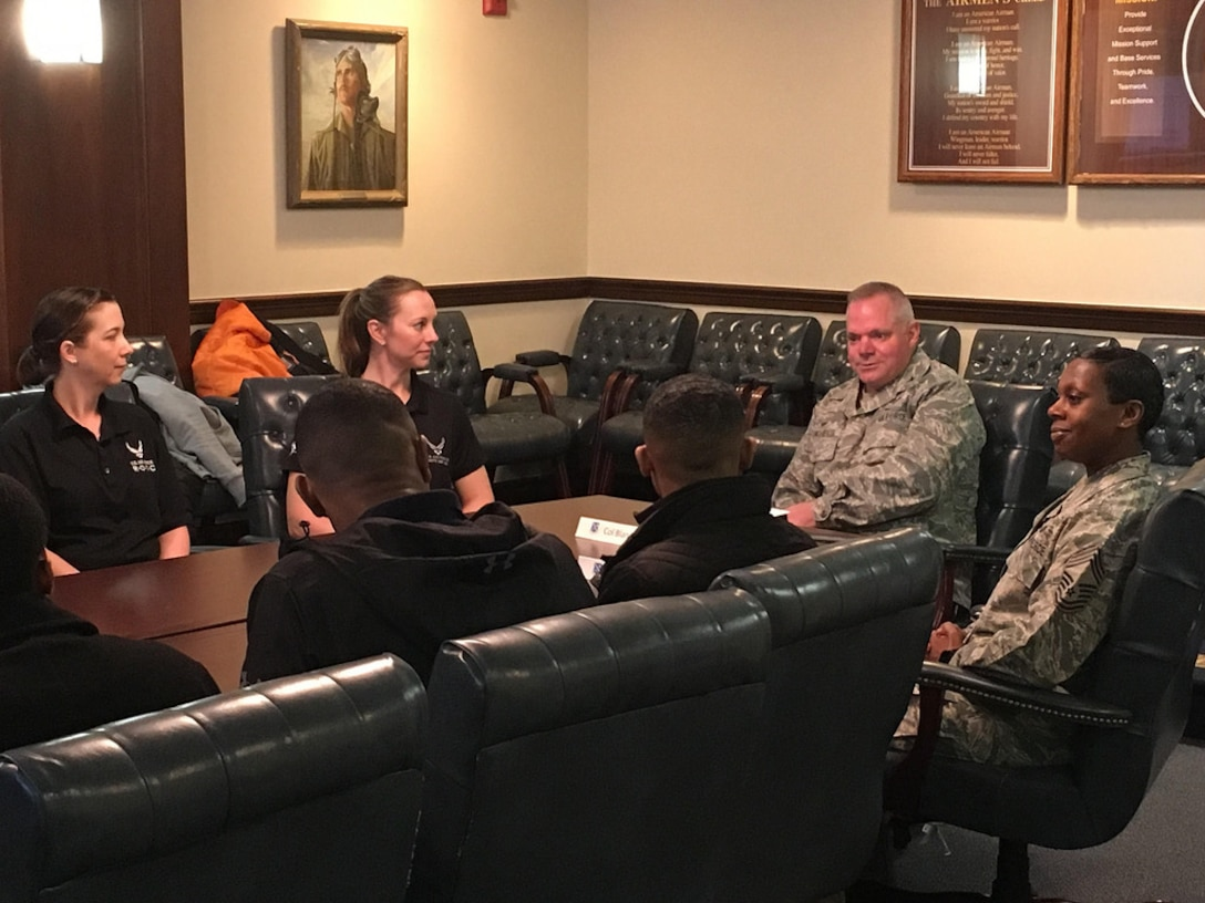 Cadets visit with JBAB leadership as part of their tour of the National Capital Region, including the Air Force Memorial and other areas of interest March 21-23, 2018.