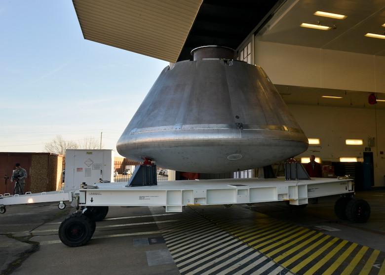 The NASA Orion crew module arrives at Joint Base Langley-Eustis, Virginia, Jan. 26, 2018.