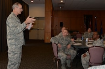 "Lt. Gen. R. Scott Williams, Continental U.S. NORAD Region-1st Air Force (Air Forces Northern) Commander, shares his perspective about leadership with senior airmen and staff sergeants from across the enterprise during a ""Focus 4/5 Seminar,"" March 27 here. The two-day seminar is a CONR-1st AF (AFNORTH) leadership-development initiative designed to provide Professional Military Education continuity for the time between Airman Leadership School and the Noncommissioned Officers Academy.  Leadership topics discussions were facilitated by CONR-1st AF (AFNORTH) enlisted leaders and included ""Enforcing Standards,"" ""Mentoring,"" and ""Active Communication."" (Air Force Photo by Mary McHale)"