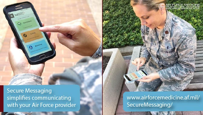 The TRICARE Online Patient Portal Secure Messaging portal allows patients to communicate safely, securely and conveniently with their Air Force providers. Secure Messaging can be especially valuable for patients and providers at specialty clinics, to lower the barriers to communications and reduce the stress of getting care. (U.S. Air Force graphic)