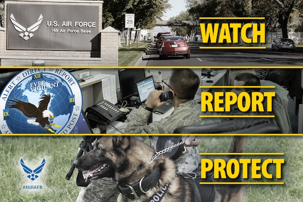 """The Air Force is asking for everyone's help in keeping Hill Air Force Base safe and secure. A program called """"Eagle Eyes"""" enlists the eyes of ears of Air Force members and citizens to recognize and report suspicious activity. The Hill AFB """"Eagle Eyes"""" number is 801-777-3056. (U.S. Air Force graphic by David Perry)"""