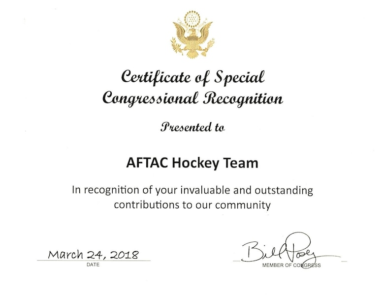 A photo of the certificate that was presented to members of the Air Force Technical Applications Center hockey team March 24, 2018 from Rep. Bill Posey (FL-15) for the team's charitable contributions and outstanding support to the community.  (U.S. Air Force photo by Susan A. Romano)