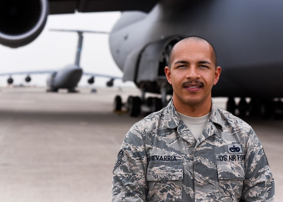 U.S. Air Force Tech. Sgt. Noel Echevarria, 728th Air Mobility Squadron aircraft services NCOIC, poses for a photo at Incirlik Air Base, Turkey, March 28, 2018.