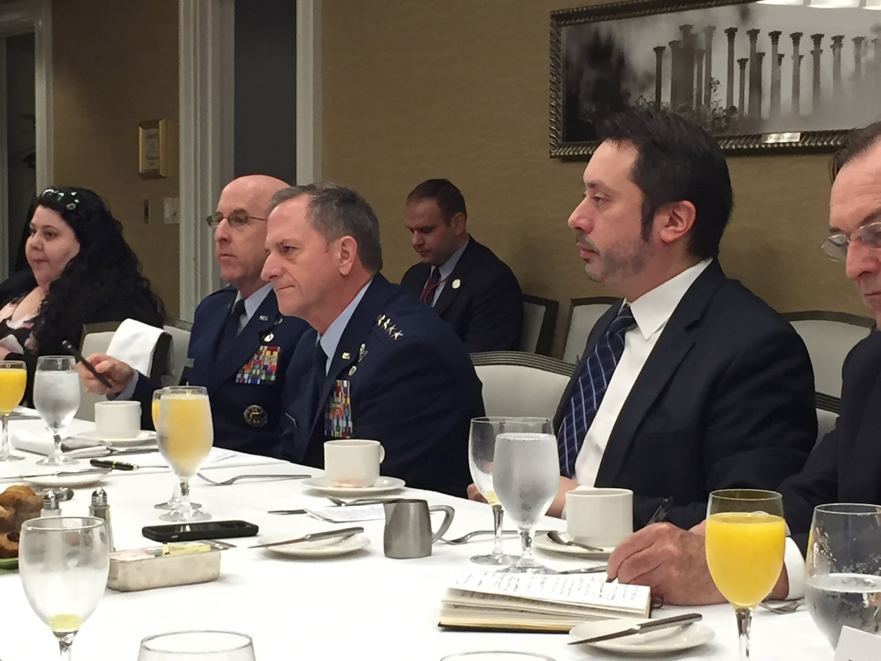 Air Force Chief of Staff Gen. David L. Goldfein addresses members of the Defense Writers' Group
