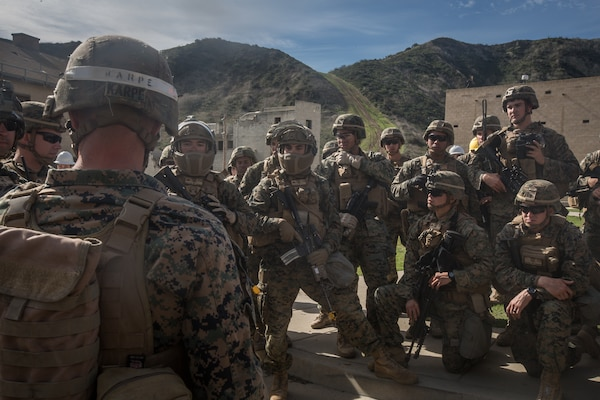U.S. Marines with 3rd Battalion, 4th Marine Regiment, 1st Marine Division test Step In Visor and Low Profile Mandible during Urban Advanced Naval Technology Exercise 2018 (ANTX-18) at Marine Corps Base Camp Pendleton, California, March 21, 2018. The Marines have been provided the opportunity to assess the operational utility of emerging technologies and engineering innovations that improve the Marine's survivability, lethality and connectivity in complex urban environments. (U.S. Marine Corps photo by Lance Cpl. Rhita Daniel)