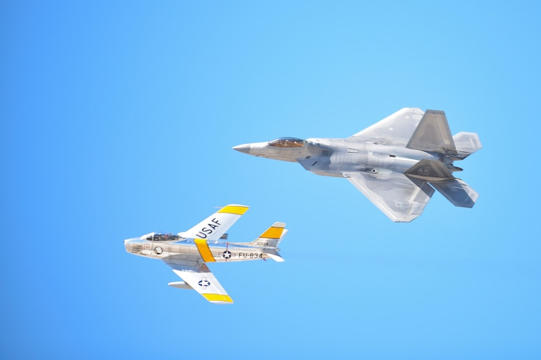 The U.S. Air Force Air Combat Command F-22 Raptor Demonstration Team performs aerial feats for event-goers in Yuma, Az., and Lancaster, Calif., March 18 and March 24-25, 2018.