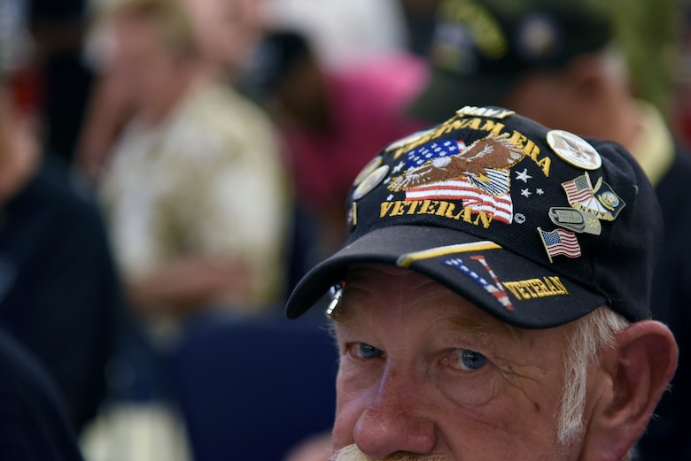 Roger Anderson, U.S. Navy Vietnam veteran, attends the 50th Anniversary Vietnam Memorial Pinning Day at The Exchange March 29, 2018, on Keesler Air Force Base, Mississippi. The event, which included a cake cutting ceremony and commemorative lapel pin presentation, was held to honor Vietnam veterans for their service. (U.S. Air Force photo by Kemberly Groue)
