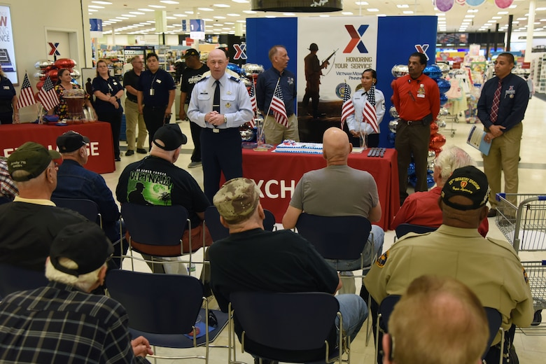 U.S. Air Force Col. Danny Davis, 81st Mission Support Group commander, delivers remarks during the 50th Anniversary Vietnam Memorial Pinning Day at The  Exchange March 29, 2018, on Keesler Air Force Base, Mississippi. The event, which included a cake cutting ceremony and commemorative lapel pin presentation, was held to honor Vietnam veterans for their service. (U.S. Air Force photo by Kemberly Groue)