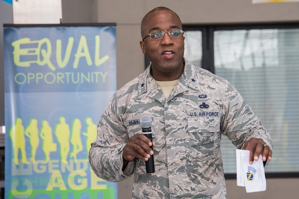 Brig. Gen. Stacey T. Hawkins, Ogden Air Logistics Complex commander, Hill Air Force Base, Utah, was a guest speaker during the fifth annual Cultural Awareness Day Friday, March 23, 2018, on Maxwell Air Force Base, Alabama. He emphasized how crucial diversity is in the success of today's Air Force. (U.S. Air Force photo by William Birchfield)