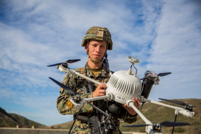 Marine displays a drone.