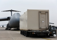 This 78,000 pound deployable shelter was one of three temporary armories transported with assistance from the 728th Air Mobility Squadron. (U.S. Air Force photo by Staff Sgt. Rebeccah Woodrow)