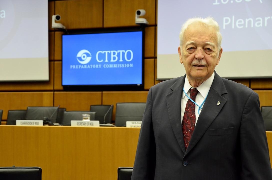 Dr. Bob Kemerait, senior scientist and Defense Intelligence Senior Level executive at the Air Force Technical Applications Center, Patrick AFB, Fla., poses for a picture prior to the start of the Plenary Session of the Comprehensive Nuclear Test Ban Treaty Organization's  Preparatory Commission at its headquarters in Vienna March 19, 2018.  Kemerait was recognized by CTBTO Executive Secretary Dr. Lassina Zerbo as the only person from any nation in the world to attend every Working Group B meeting since its inception in 1997.  (U.S. Air Force photo by Susan A. Romano)