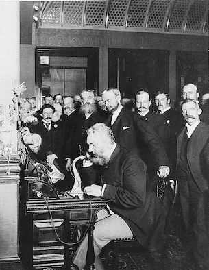 Alexander Graham Bell participates in the opening of the long-distance line between New York and Chicago, Oct. 18, 1892. The Air Force Network Integration is celebrating 75 years in communication by revisiting its rich history and how it led to today's advancement in communication. (courtesy photo)