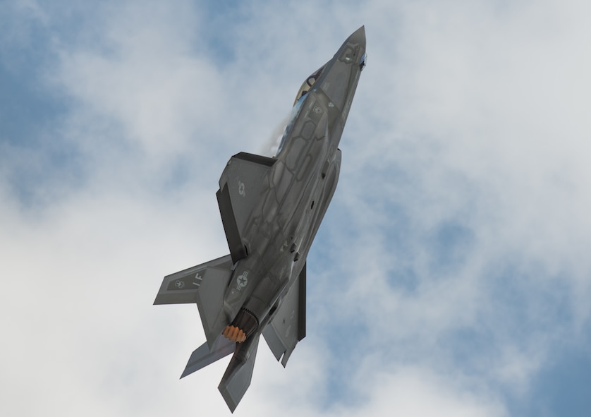 "Capt. Andrew ""Dojo"" Olson performs aerial maneuvers flying the F-35A Lightning II during the Wings Over South Texas air show at Naval Air Station Kingsville, Texas, March 24, 2018. The F-35 is the world's most technologically advanced fifth-generation fighter aircraft. (U.S. Air Force photo by Airman 1st Class Alexander Cook)"