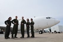 Female members of the 625th Strategic Operations Squadron who participated in the Air Force-wide all-female missile alert crew March 25 stand by the U.S. Navy E-6B Mercury at Offutt Air Force Base, Nebraska, March 29, 2018. The all-female missile alert crew day occurs annually on March 25, to commemorate the first all-female Minuteman crew, who stood alert at Whiteman Air Force Base, Missouri, in 1986.