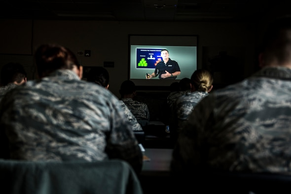 U.S. Airmen watch videos as part of an Enhancing Human Capitol class during their First Term Airman's Course at Shaw Air Force Base, S.C., March 26, 2018.