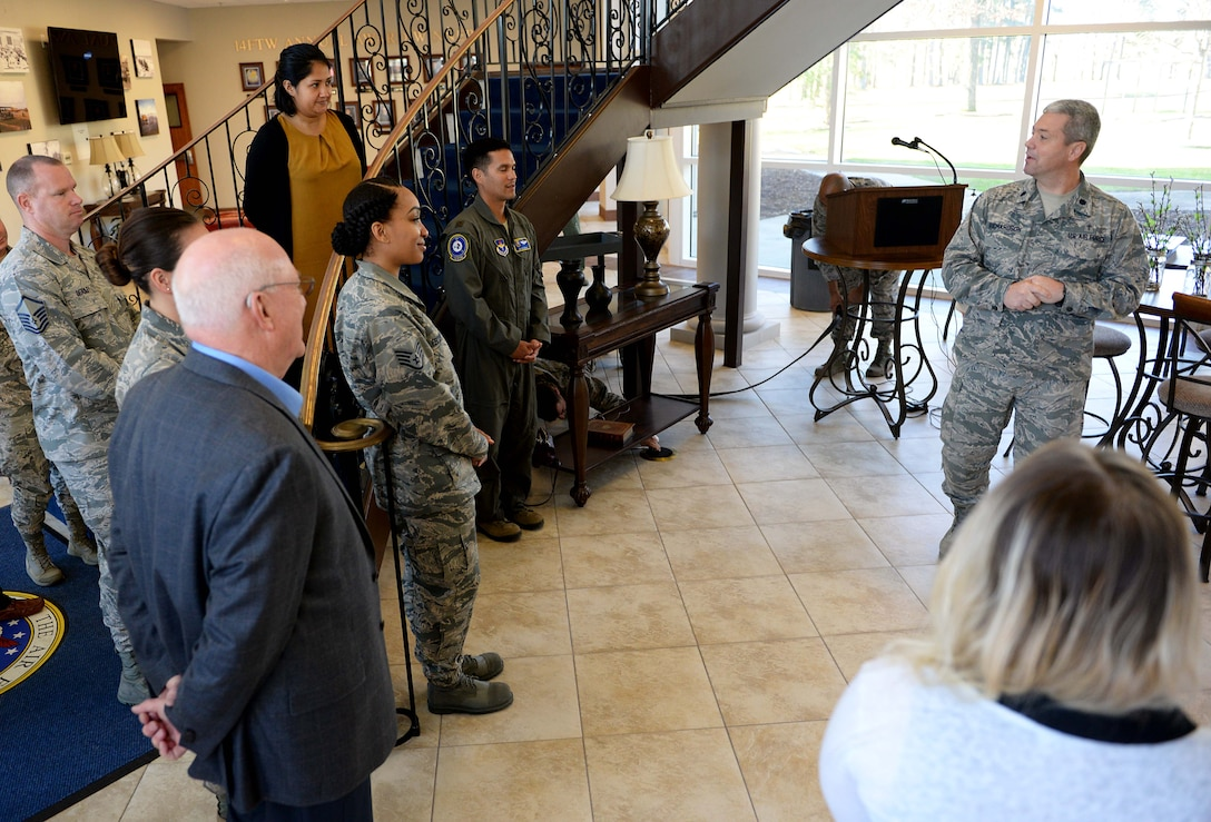 Lt. Col. Steven Richardson, 14th Flying Training Wing chaplain, introduces Wing Staff Agency Airmen to his father, retired Maj. Gen., Cecil Richardson, former Air Force Chief of Chaplains March 6, 2018, on Columbus Air Force Base, Mississippi. The Columbus AFB chapel leads many activities to improve their connection to the base's Airmen. (U.S. Air Force photo by Airman 1st Class Keith Holcomb)