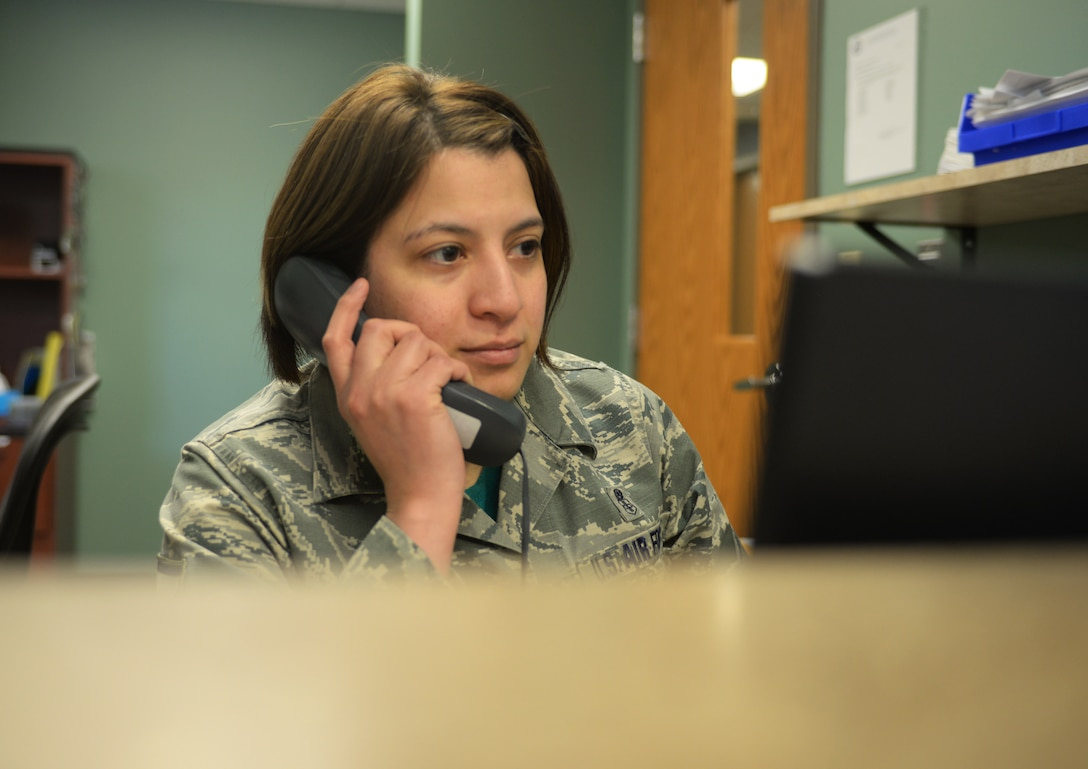 Master Sgt. Lillian Stibor, the 28th Medical Group Dental Clinic superintendent, schedules an appointment for a patient at Ellsworth Air Force Base, S.D., March 9, 2018. The clinic has approximately 20 Airmen who serve as dentists, technicians, and hygienists in the office. (U.S. Air Force photo by Airman 1st Class Thomas Karol)