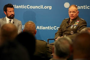 Commandant of the Marine Corps Gen. Robert B. Neller speaks to guests at the Atlantic Council in Washington.