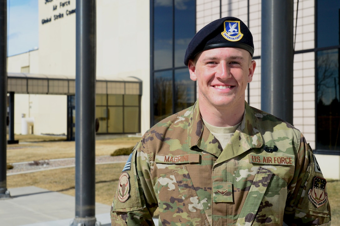 Airman Gideon Magrini, 841st Missile Security Forces Squadron missile security operator, poses for a portrait after receiving his Army Air Assault Badge March 23, 2018, at Malmstrom Air Force Base, Mont.