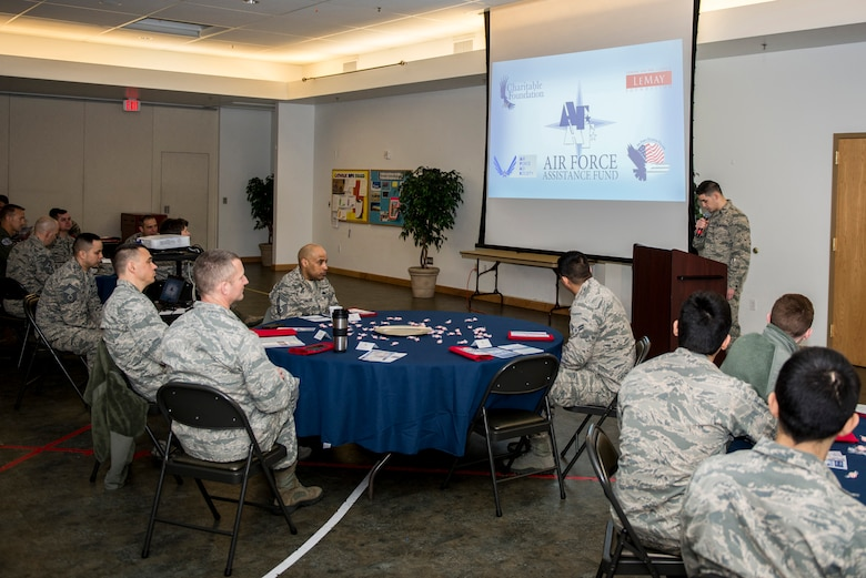 U.S. Air Force Airmen from the 354th Fighter Wing attend the wing's Air Force Assistance Fund (AFAF) campaign kick-off breakfast March 26, 2018, at Eielson AFB, Alaska. The AFAF campaign gives Airmen the opportunity to donate to charities that help other members of the Air Force and their families. (U.S. Air Force photo by Airman 1st Class Isaac Johnson)