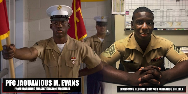 Private First Class Jaquavious M. Evans graduated Marine Corps recruit training Mar. 30, 2018, aboard Marine Corps Recruit Depot Parris Island, South Carolina. Evans was the Honor Graduate of platoon 1016. Evans was recruited by Sgt. Jarmarus C. Greeley from Recruiting Substation Stone Mountain. (U.S. Marine Corps photo by Lance Cpl. Jack A. E. Rigsby)