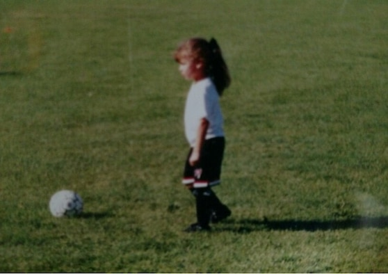 """First Lt. Hannah Ferrarini, 14th Force Support Squadron officer in-charge of Career Development played soccer since she was a 6 year old. """"People need a purpose, and you'll find it if you work for something crazy,"""" said Ferrarini. (Courtesy photo)"""