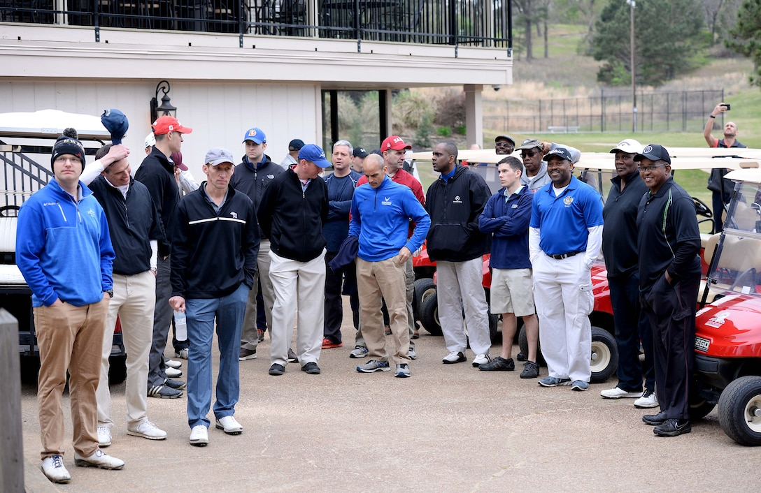 Participants wait for the starting announcements of the Happy Irby Golf Tournament March 29, 2018, at the Lion Hills Country Club in Columbus, Mississippi. George Irby continues his father's legacy in the Columbus community and is always finding new ways to expand fundraising to help children in need. (U.S. Air Force photo by Airman 1st Class Keith Holcomb)