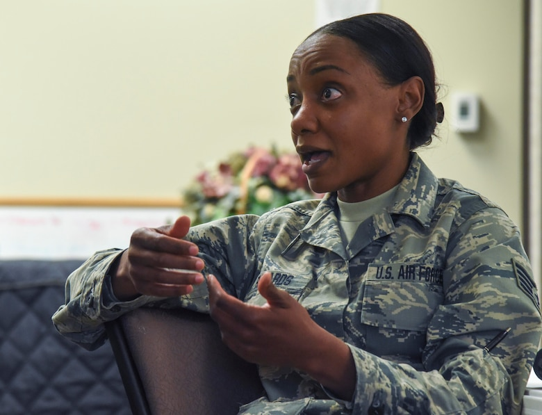 Richards discussed her experiences with base events and how they could be improved. (U.S. Air Force photo by Airman 1st Class Michael D. Mathews)
