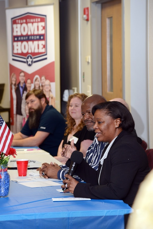 """Retired Col. Stephanie Wilson, right, former 72nd Air Base Wing commander, was one of five military veteran panelists at the Home Away From Home """"Meet the Heroes Night"""" held at the American Red Cross in downtown Oklahoma City on March 22."""