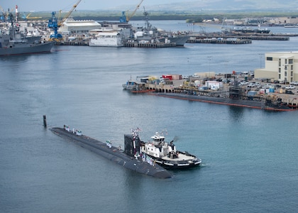 180330-N-LY160-0026 PEARL HARBOR, Hawaii (March 30, 2018) The crew of the Virginia-class fast-attack submarine USS Mississippi (SSN 782) returns to Joint Base Pearl Harbor-Hickam following a six-month Western Pacific deployment, March 30. (U.S. Navy photo by Mass Communication Specialist 2nd Class Michael H. Lee/ Released)