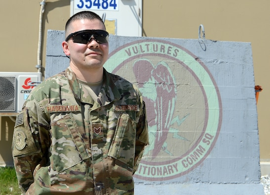 Staff Sgt. Brandon Hasegawa, 455th Expeditionary Communication Squadron cyber transport technician, poses for a photo Mar. 22, 2018 at Bagram Airfield, Afghanistan.